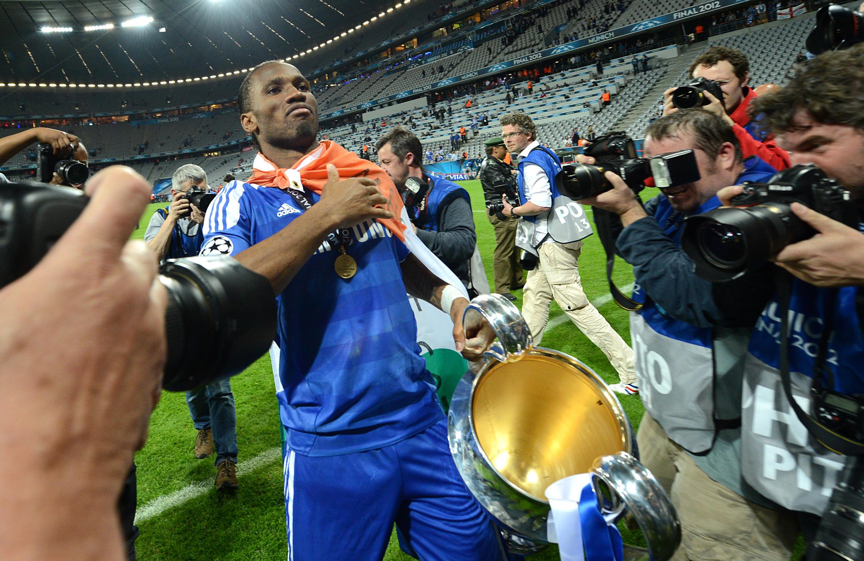 Didier Drogba, wakati wa ushindi wa Chelsea, katika fainali ya Ligi ya Mabingwa 2012.