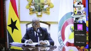 Shugaban kasar Ghana Nana Akufo Addo yayin taron kungiyar ECOWAS karo na 58 a Abuja, ta kafar bidiyo.