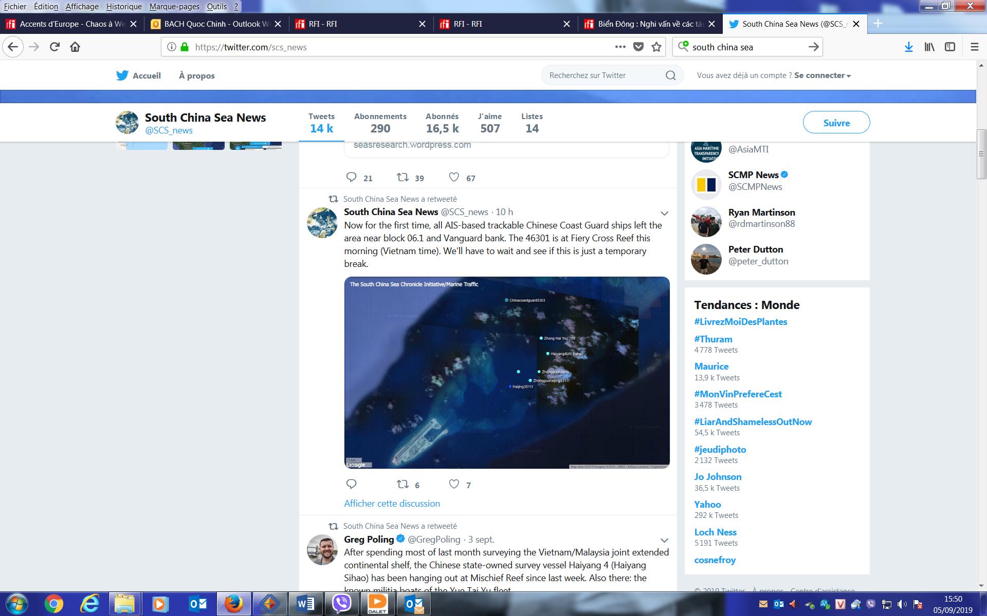 Chụp màn hình Twitter của South China Sea News, ngày 05/09/2019
