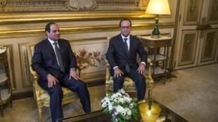 دیدار امروز فرانسوا اولاند، رئیس جمهور فرانسه، با عبدالفتاح السیسی، رئیس جمهور مصر، در کاخ الیزه.
