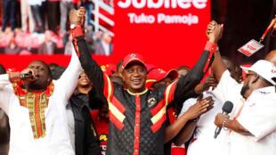 Rais wa Kenya,Uhuru Kenyatta  akiwa katika makao makuu ya chama tawala cha Jubilee jijini  Nairobi.