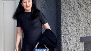 La directrice financière de Huawei, Meng Whanzhou, quitte sa résidence surveillée de Vancouver pour se rendre au tribunal le 8 mai 2019.