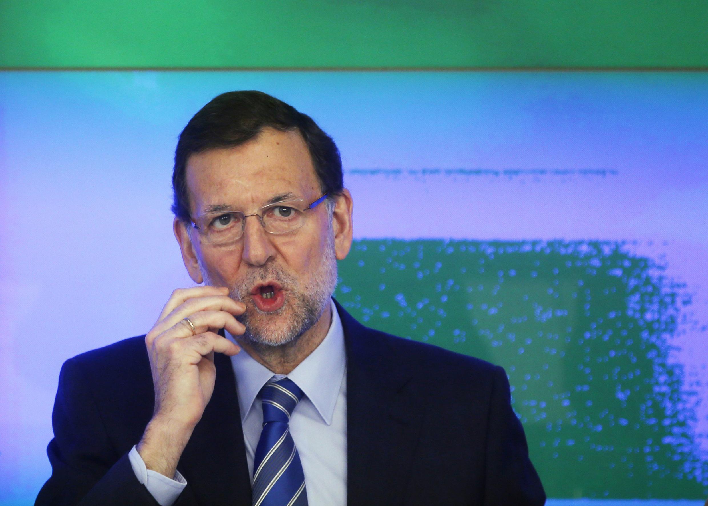 Mariano Rajoy, jefe del gobierno español, durante su intervención ante la dirección del Partido Popular. Madrid, 2 de febrero 2013