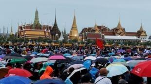 Démonstration de force contre le gouvernement thailandais, à Bangkok, le 19 septembre. Ici, dans le parc Sanam Luang.