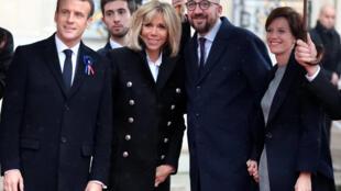 Shugaba Emmanuel Macron da matarsa  Brigitte tare da Firaministan Belgium, Charles Michel