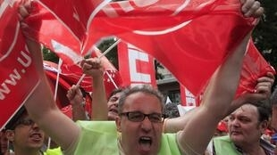 Spanish public-sector workers demonstrate in Madrid in June