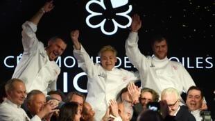 法國美食米其林指南2020年度三星摘冠大廚:Glenn Viel (左)、Kei Kobayashi (中)、 Christopher Coutanceau (右)