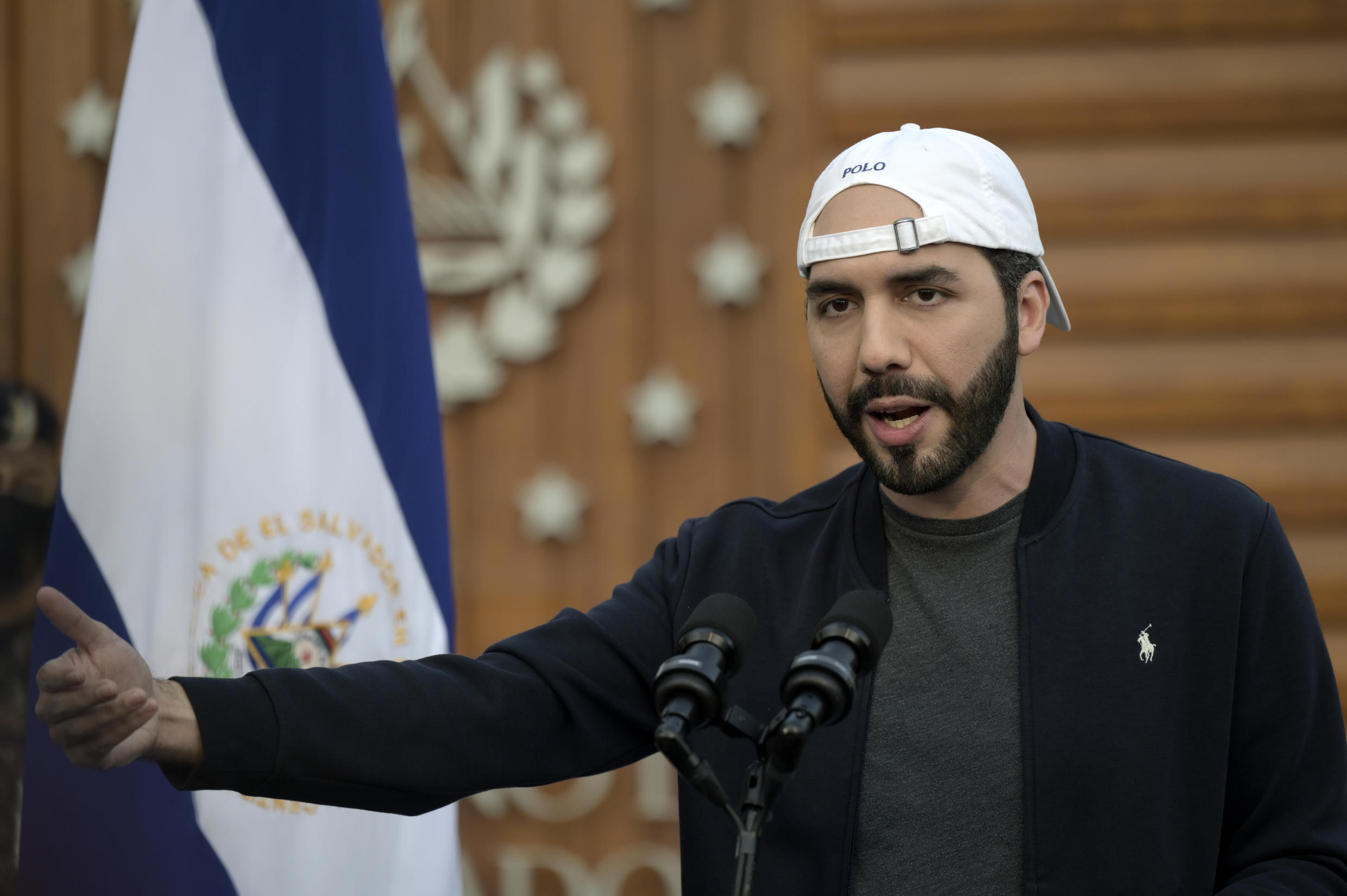 El Salvador's President Nayib Bukele, seen on February 17, 2021, uses social media to his advantage and has cultivated an image as a man of the people