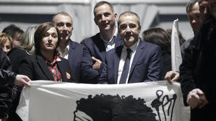 'Pe a Corsica' nationalist party candidates for Corsican regional elections with Jean-Guy Talamoni (2nd R)
