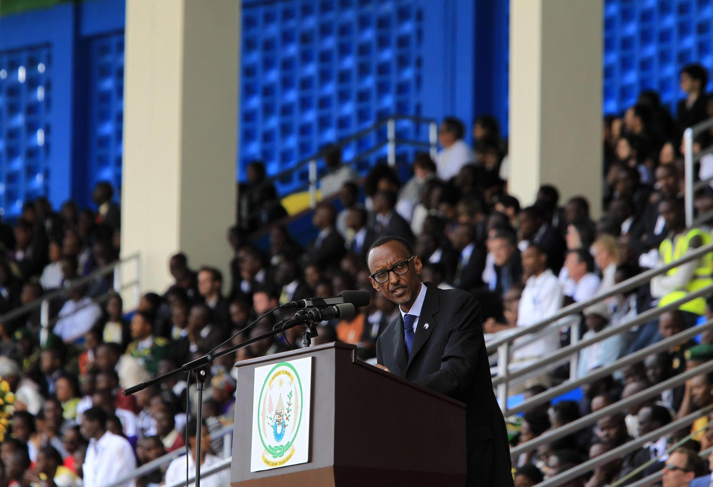 Rwandan President Paul Kagame speaks at this week's commemoration ceremony in Kigali's Amohoro stadium