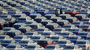1月9日,停在大连港的宝马汽车。