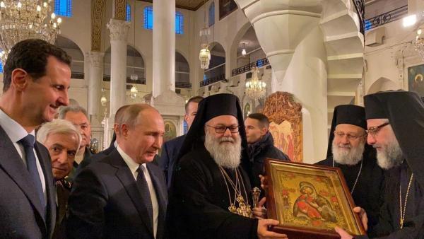 Vladimir Poutine et Bachar el-Assad se sont rendus ensemble à la cathédrale mariamite de Damas, le 7 janvier 2020.