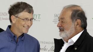 Os homens mais ricos do mundo: Bill Gates (à esq.) e Carlos Slim (à dir.)
