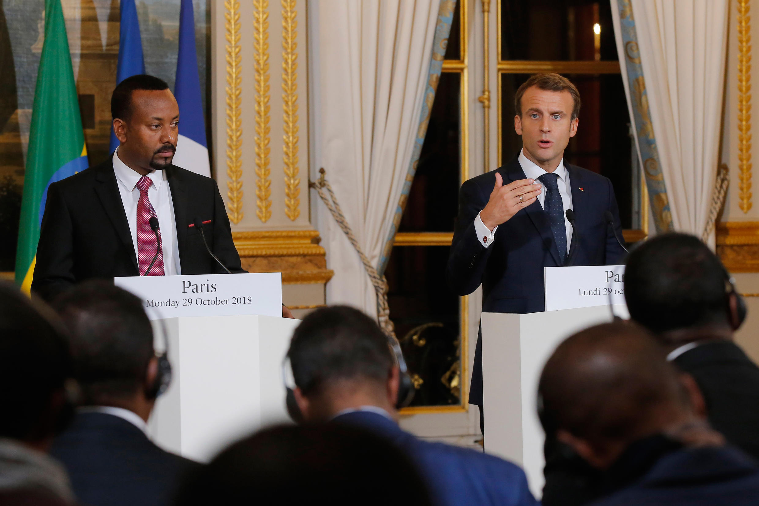 President Emmanuel Macron (R) during a joint press conference with Ethiopia's Prime minister, Abiy Ahmed (L), following their meeting at the Elysée, in october 2018 in Paris.