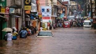 Un quartier d'Antananarivo inondé à causes des fortes pluies. Le 8 janvier 2020.