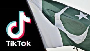 抖音国际版TikTok与巴基斯坦国旗资料图片