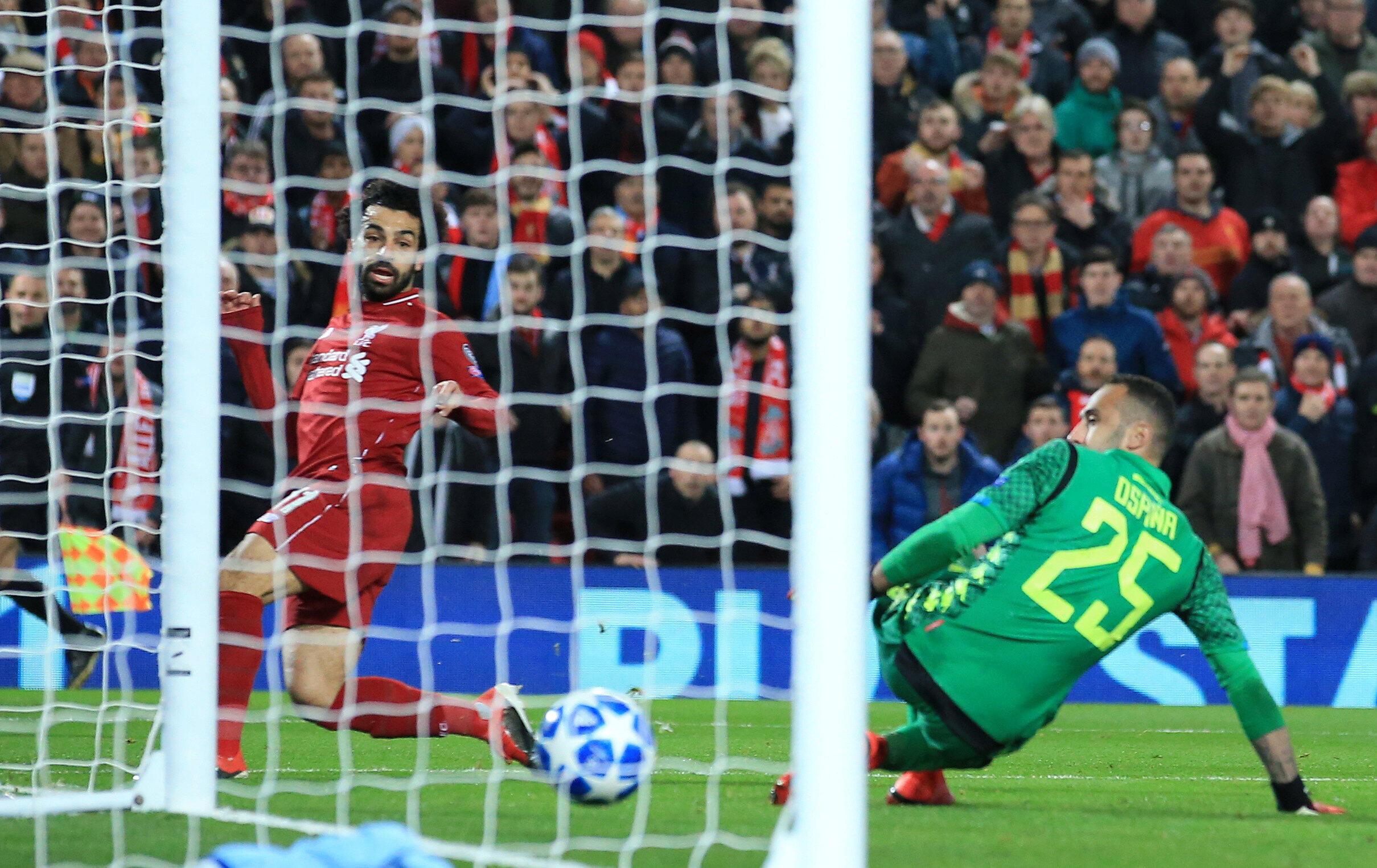 L'Egyptien Mohamed Salah, buteur avec Liverpool face à Naples.