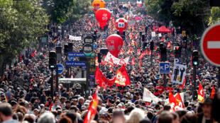 Imagen de archivo de movilización social en Francia.