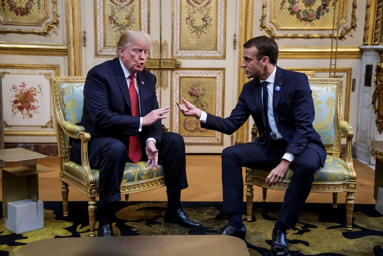 លោក Donald Trump និងលោក Emmanuel Macron នៅវិមានប្រធានាធិបតីបារាំង ថ្ងៃទី១០ វិច្ឆិកា ២០១៨