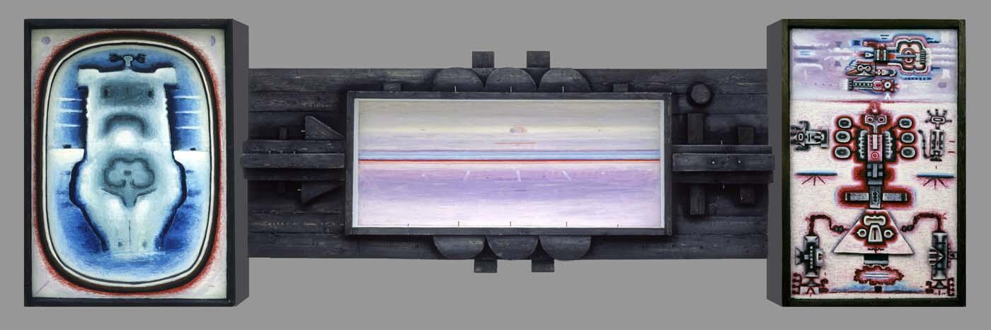 Триптих № 6. Мы в мире, 1966. Оргалит, дерево, масло, 145 × 454,5 × 26 см