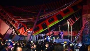 Effondrement d'un pont du métro aérien à Mexico