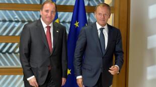 O presidente do Conselho Europeu, Donald Tusk, e o primeiro-ministro da Suécia, Stefan Lofven, chegam para participar em Bruxelas do Conselho europeu que acontece nesta quinta-feira(22).m 22 de junho de 2017.