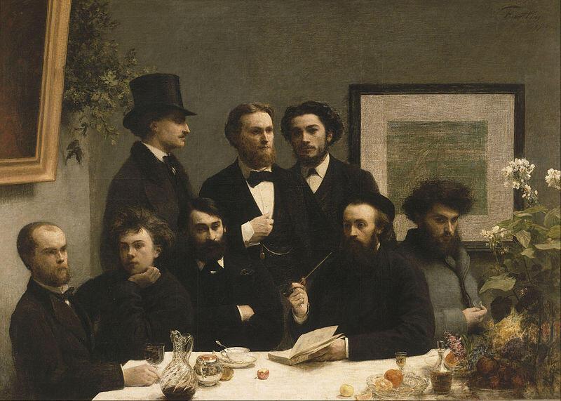 """Quadro """"Un Coin de Table"""", de Fatin-Latour, mostra, entre outros poetas, Paul Verlaine e Arthur Rimbaud sentados na primeira fila (os primeiros da esquerda para a direita)."""