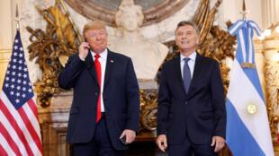 US president Donald Trump meets his Argentinian counterpart Mauricio Macri, 30 November 2018.