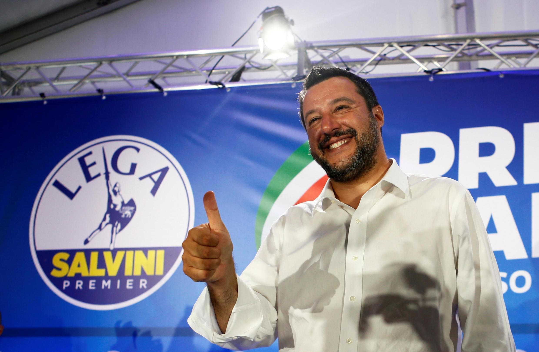 Matteo Salvini, vice-primeiro-ministro e líder do partido Liga Norte, durante coletiva de imprensa na sede do partido para avaliar os resultados das eleições para o Parlamento Europeu, em Milão, Itália, em 27 de maio de 2019.