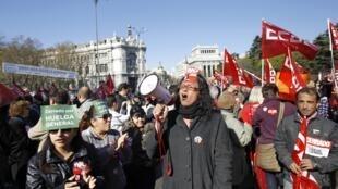 Manifestación en Madrid contra la reforma del mercado laboral anunciada por el gobierno, este 29 de marzo de 2012.