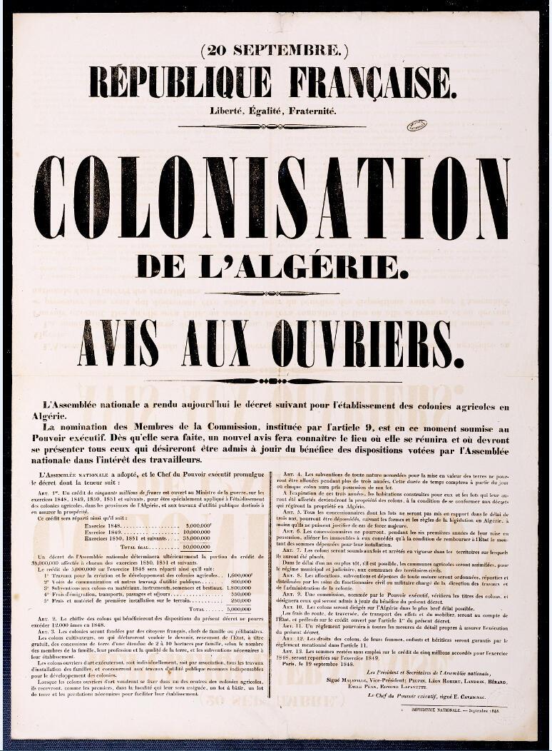 (Détail) « Colonisation de l'Algérie. Avis aux ouvriers, 1848, affiche imprimée, 73 x 52,5 cm. Archives nationales d'outre-mer.