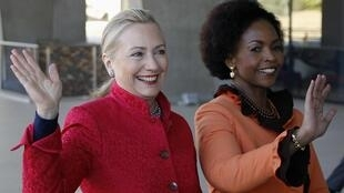 US Secretary of State Hillary Clinton is welcomed by South African Foreign Minister Maite Nkoana-Mashabane in Pretoria