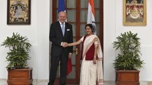 France's Foreign Minister Laurent Fabius and his Indian counterpart Sushma Swaraj, New Delhi, 30 June 2014.