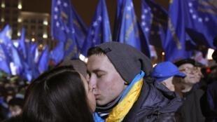 Plaza de la Independencia en Kiev, donde están reunidos los pro europeos.