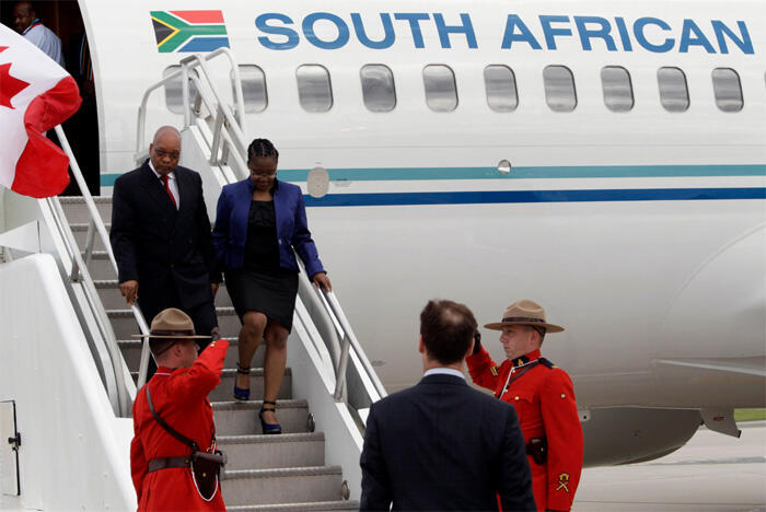 Jacob Zuma and his daughter arive at Pearson International Airport for the G8 and G20 summits