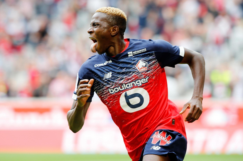 Le Nigérian Victor Osimhen fêtant son premier but avec Lille, le 11 août 2019 contre Nantes.