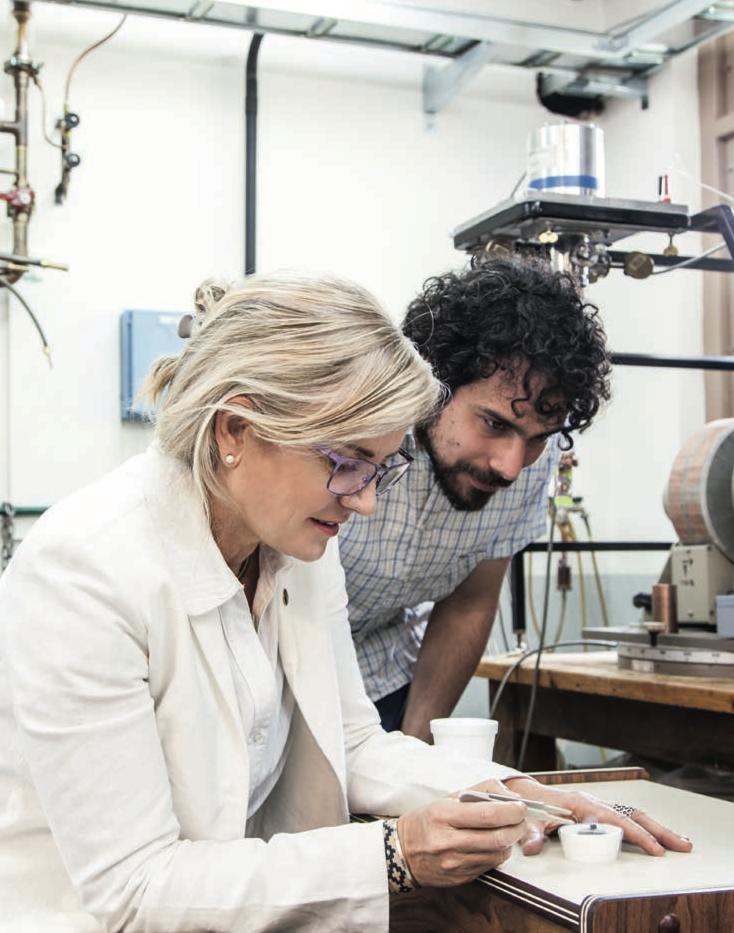 Karen Hallberg en su laboratorio en el centro atómico de Bariloche.