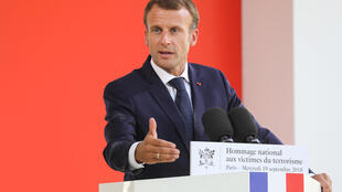 Emmanuel Macron durante 19ª cerimônia anual de homenagem às vítimas do terrorismo