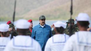 President Nicolas Maduro attends military exercises in Turiamo, 3 February 2019.