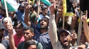 Protestations à Gaza, le 14 août, contre l'accord de paix entre Israël et les Émirats.