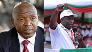 Kiongozi wa upinzani Agathon Rwasa (kushoto) na Jenerali Évariste Ndayishimiye (kulia) mgombea wa chama tawala - CNDD-FDD, ndio wagombea wakuu katika uchaguzi wa urais wa Mei 20, 2020 nchini Burundi.