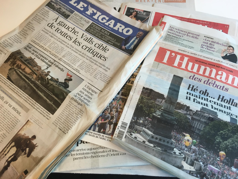 Primeiras páginas dos jornais franceses de 24 de junho de 2016