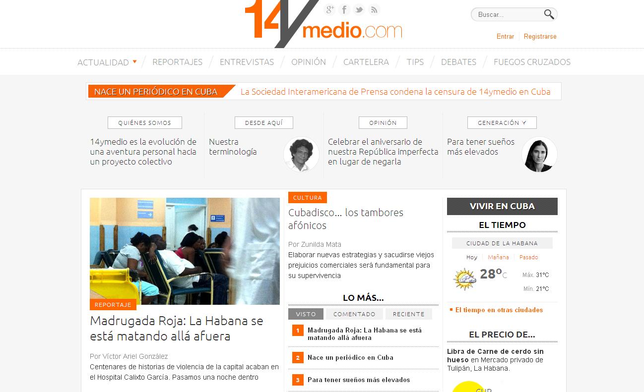 Page d'accueil du site cubain d'information 14ymedio.com