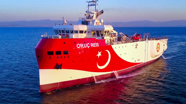 Photo du navire de recherche sismique turc «Oruc Reis» se dirigeant à l'ouest d'Antalya sur la côte méditerranéenne, le 12 août 2020.
