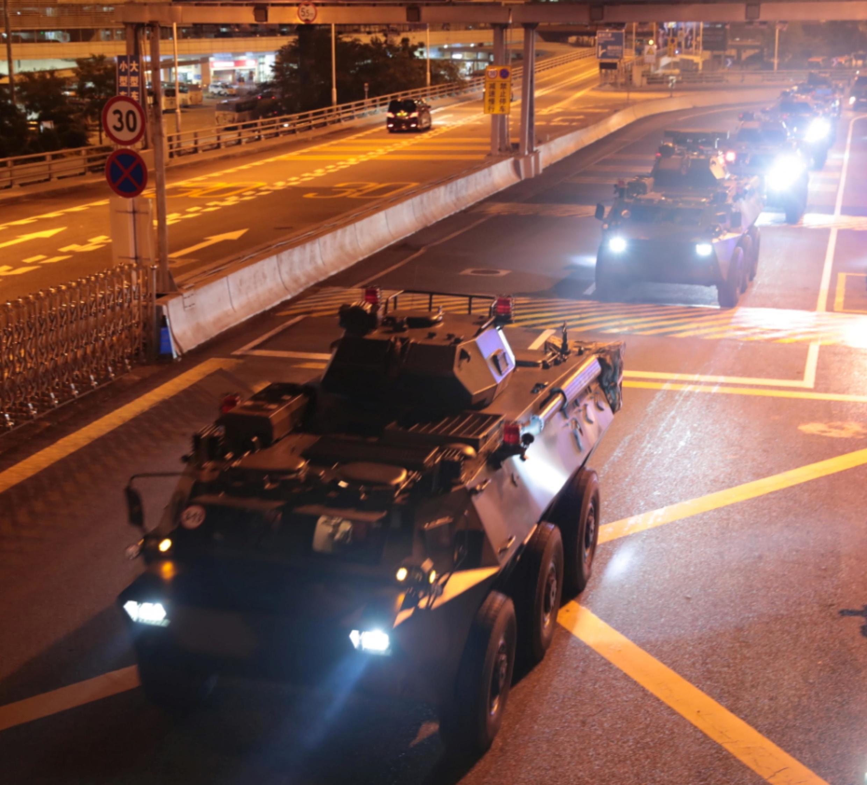 Trung Quốc rầm rộ đưa tin về việc luân chuyển quân qua cửa khẩu Hoàng Cương (giữa Thâm Quyến và Hồng Kông), ngày 29/08/2019.