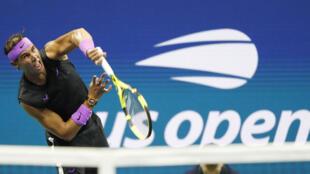 L'Espagnol Rafael Nadal lors du match de quart de finale de l'US Open 2019 contre l'Argentin Diego Schwartzman.