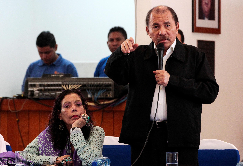 Le président du Nicaragua, Daniel Ortega, lors d'un dialogue national après des manifestations violentes, le 16 mai 2018.