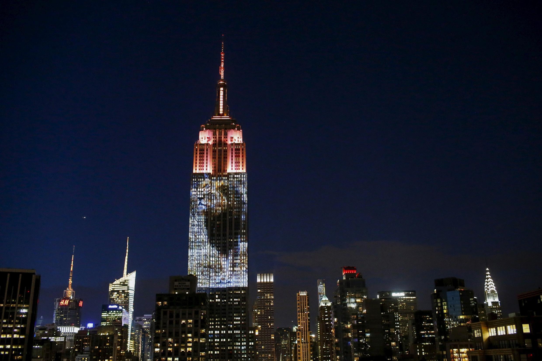 Imagem de leão Cecil foi projetada no Empire State Building, em Nova York.