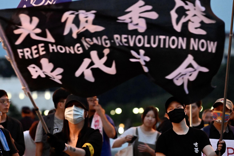 Des Taïwanais manifestent leur soutien au mouvement pro-démocratie kongkongais, à Taipei le 13 juin 2020.