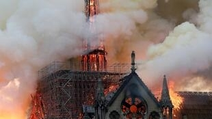 More than 400 firefighters tackled the blaze which engulfed Notre Dame Cathedral in Paris on 15 April 2019.